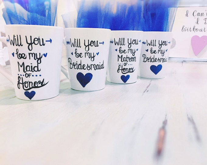Navy Blue - Will you be my bridesmaid coffee mugs - Be My Maid - Maid of Honor Coffee Mugs - Custom Bridal Party Gifts