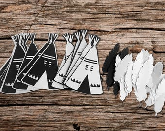 Teepee and Feather Die Cut Set - Includes 25 Boho Personalized pieces.