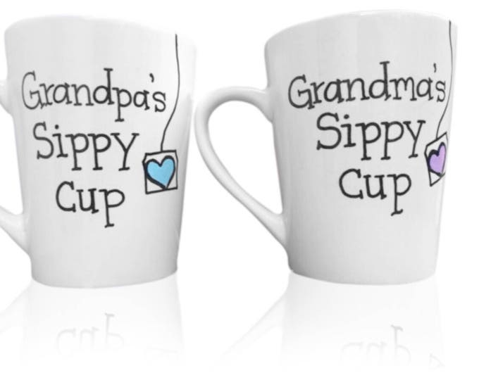 Grandma and Grandpas Sippy Cup - Coffee Mug Set for Grandparents - Gifts for Grandma and Grandpa from Grandkids