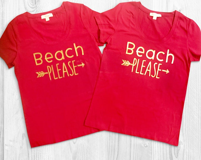 Beach Please - Vacation Shirts - Cruise Tops - Gold and Red Beach Cover Ups