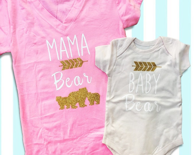Mama Bear and Baby Bear Twinning top and onsie in gold and white arrows and font. Personalized Mommy and Me shirts.