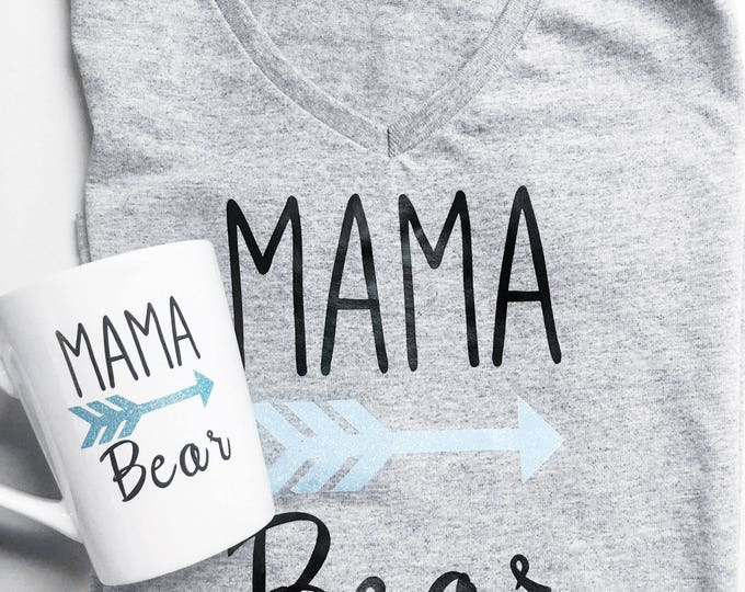 Mama Bear Gift Set With Fitted Tee and Coffee mug - Arrows - Customized Gifts for Mom