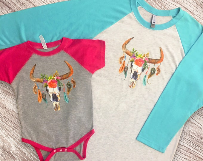 Take the Bull by the Horns - Twinnig Mommy and Daughter Raglan Shirts - Personalized twinning tops!