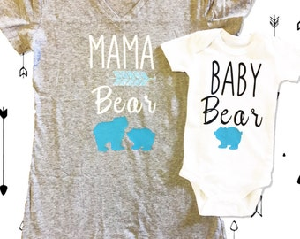 Baby Boy Announcement Shirts - Mama Bear and Baby Bear Tees and Onsies - Baby Shower Gifts - Boy Mom Shirts