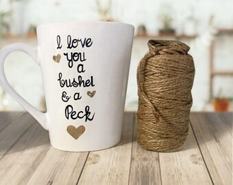 I Love You a Bushel and a Peck Coffee Mug Gifts. Sweet and Simple Coffee Mug quotes. Gold and Black Mugs.