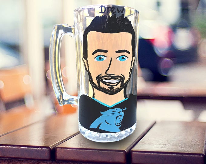 Groomsman Charicature Beer Mugs - Groomsman Gifts - Best Man Gifts - Bachelor Party Beer Steins. Sports Jerseys Football beer steins.