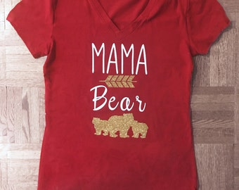Mama Bear T Shirt - Burgundy and Gold - mom of one