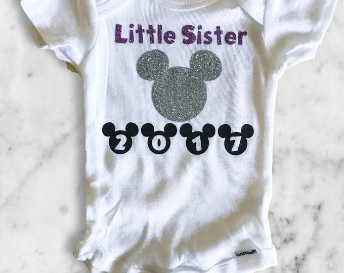 Little Sister - 2016 Disneyland Family Vacation Onsies and Shirts - Maternity Announcement - Personalized Childrens Clothing