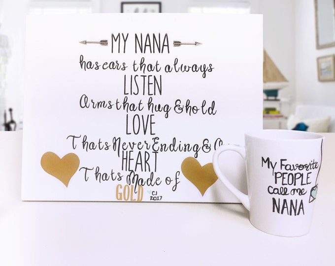 Foot Print and Hand Print Gift Sets for Grandparents from Grandkids - My Nana has ears that always listen hands that hug and hold