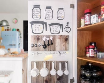 Spice Cabinet organizer set. Comes with every thing to make your storage cabinet! Mason Jar , Measuring Cups, Die Cuts, Pallette Pieces.