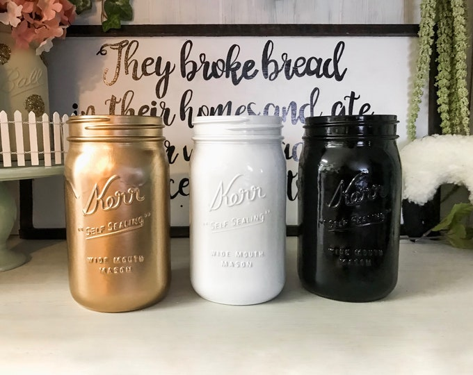 Fall Mason Jar Decor Set - Black, Rose Gold & Black Personalized Mason Jar Center Pieces