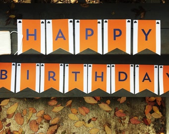Happy Birthday Personalized banner in Blue and Orange - Personalize to any color or font.