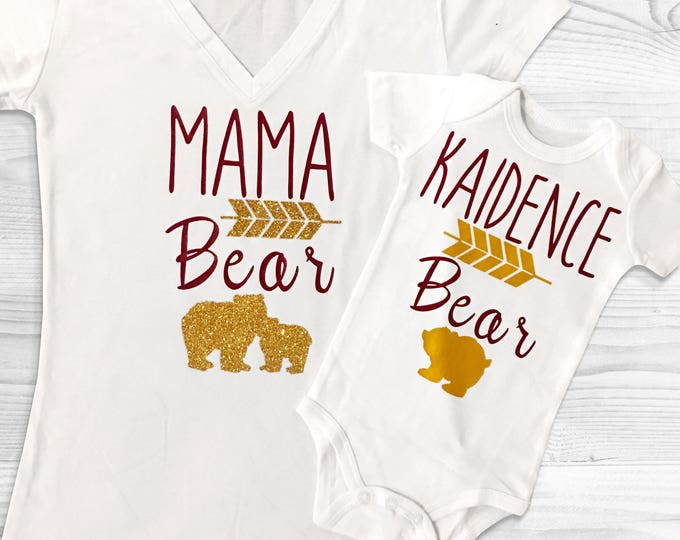 Mama Bear - Monogram Littles Twinning Tops for Mom, dad, son or daughter! Basic tees - Baby shower gifts