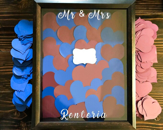 Shadow Box Wedding Guest Book - Heart Shape Sign In Book- Personalized Guest Frame - Creative Guest Book Ideas