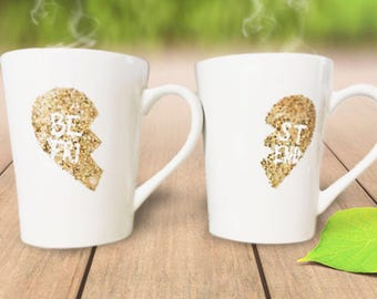 Best Friends Gold Glitter Heart Set Coffee Mugs. Best Friends Necklace Heart on a Mug - Glitter Dipped Mugs - Gifts for Best Friends and Sis