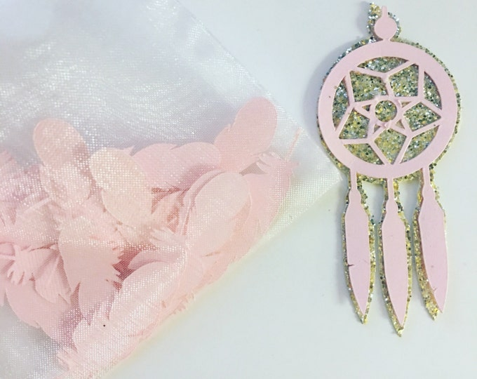 Dream Catcher and Feather Die Cut Paper Cut outs for Birthday Party and Baby Shower or Diaper Cake Supplies. Personalized Die cuts.