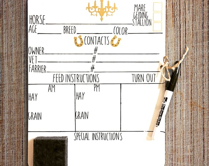 Barn Stall Boards -   Chandelier stall boards - Horse Stall Boards - white board feed schedule.