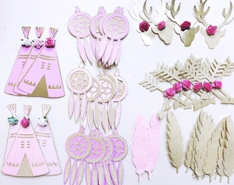 Boho Baby Shower Die Cuts - Teepees, Feathers, Dream Catchers. - Diaper Cake Kit