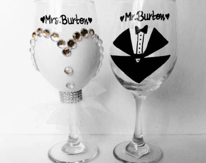 First Toast Wedding Wine Glasses - Wedding Gown Wine Glass - Personalized Gifts for the Bride and Groom.