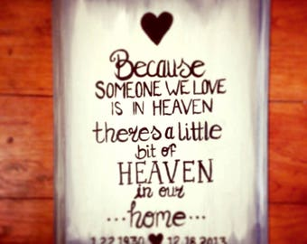 """Chalk painted frame decor """"because someone we love is in heaven there is a little piece of heaven in our home"""" Gifts for Passing - Sweet"""