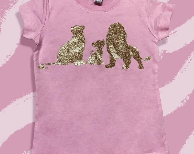 Sirabi, Mufasa & Simba Glitter Gold Basic T Shirts - Disneyland Vacation T shirts