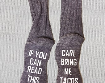 If You Can Read This Bring Me Tacos - If You Can Read This Bring Me Wine Socks - Cozy Socks - House Socks and Slippers - Humor Gifts