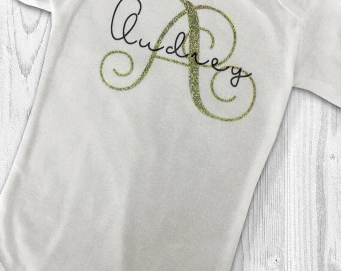 Monogram Name Top - Personalized to any Size or Style - Baby Monogram Onsies.