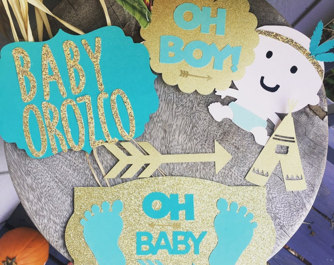 Oh Baby - Baby Shower Die Cuts - Paper Craft Supplies - Custom Cuts for Diaper Cakes and Cake Toppers - Boho  Baby Shower