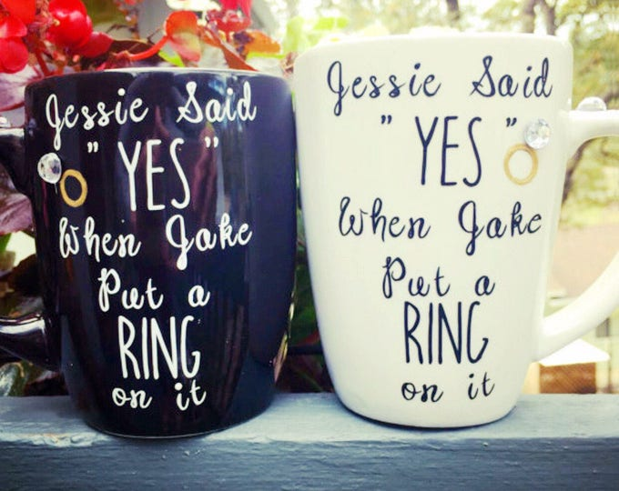 He Put a Ring On It - She Said Yes - Engagement Announcement Coffee Mug Set for the Newly Engaged Couple.