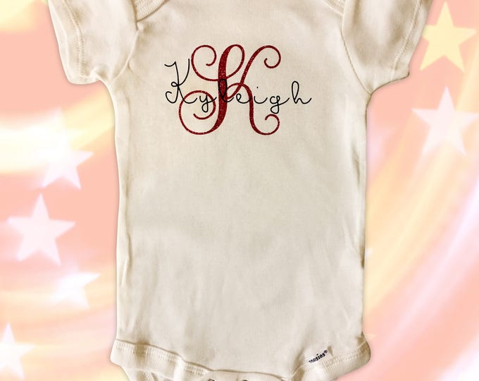 Monogram Signature Onsies for the new little peanut - Custom onsies - Baby Shower Gifts