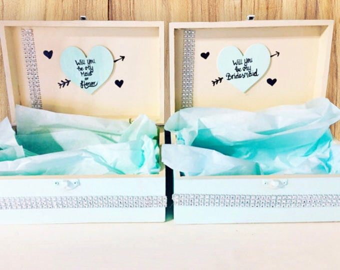 Will You Be My Bridesmaid Box - Aqua and Ivory - Bridesmaid Gifts and Maid of Honor Gifts - BE MY MAID?