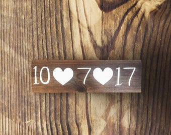Wedding Date Signs - Photography Prop - Engagement Announcements - Reclaimed and Stained Hand Painted Wood Signs.