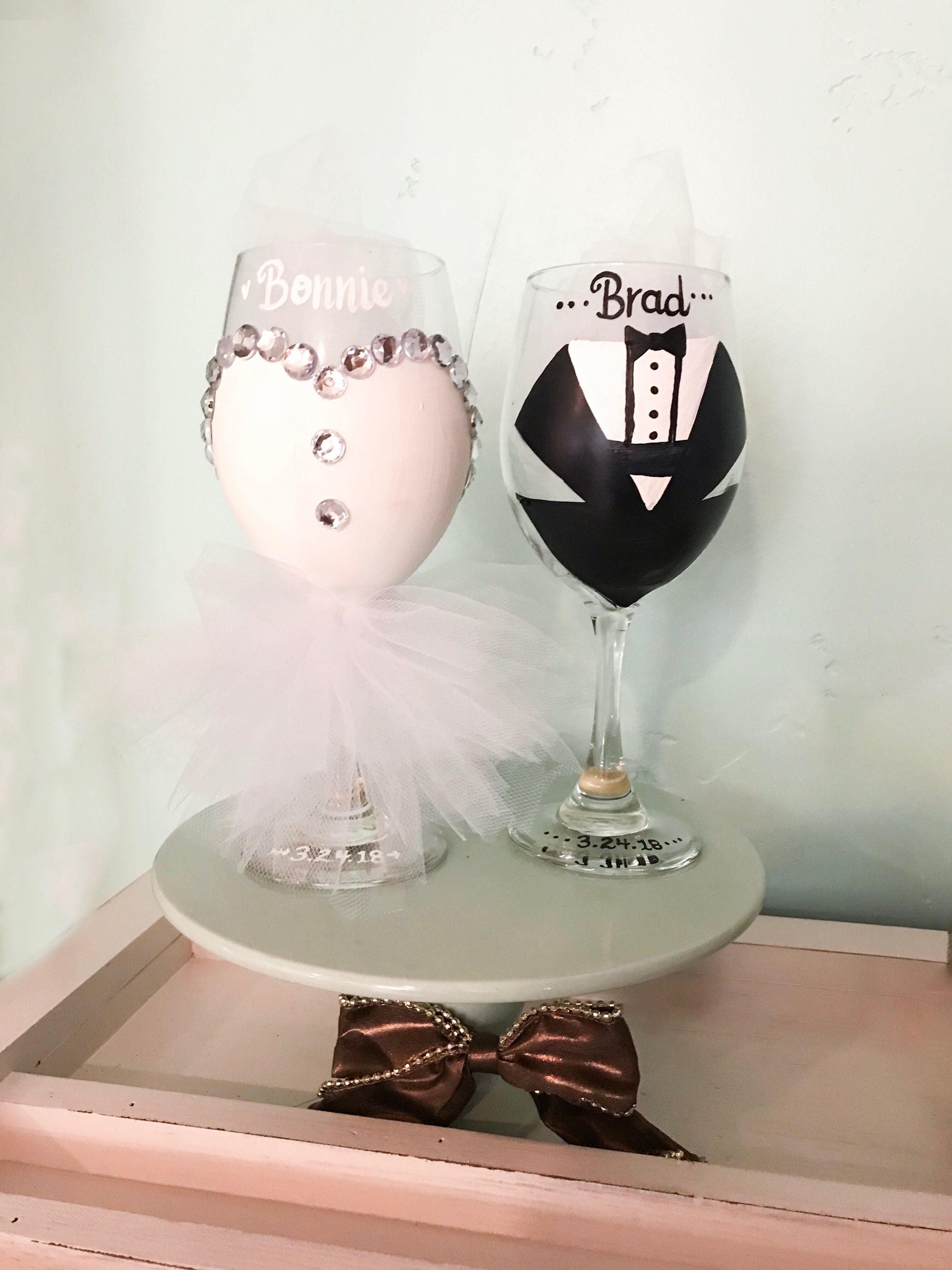 Bride and Groom Wine Glass for First Wedding Toast! Bridal