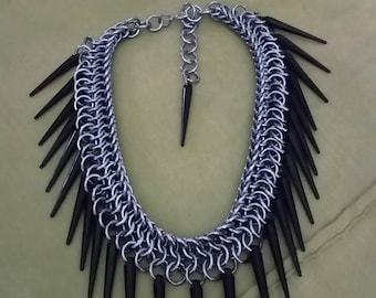 Spiked chainmaille choker/ collar