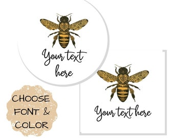 144 HANDMADE Personalised HONEY BEE Shabby Brown Kraft Effect Favour Stickers