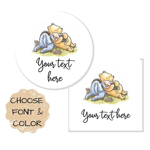 Winnie The Pooh Baby Shower Personalized Round Stickers 24 Stickers Total