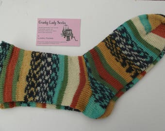 Hand Cranked and Hand Finished Fair Isle effect socks