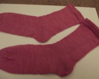 Pink Socks hand cranked on a circular sock machine