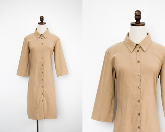 khaki utility shirtdress   m