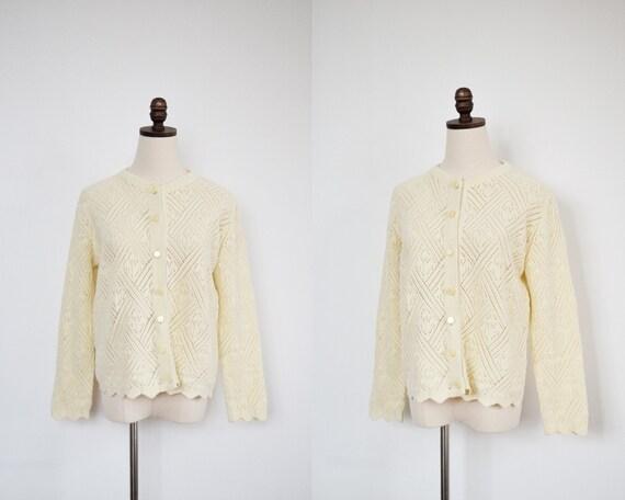 vintage cream crochet cardigan | m