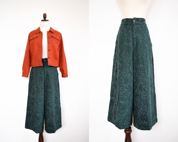 forest green damask culottes | m
