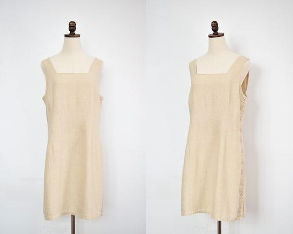 vintage natural linen minidress   L
