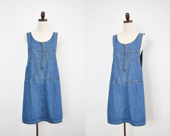 zip front denim jumper dress | large