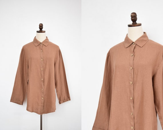 button down linen tunic | s