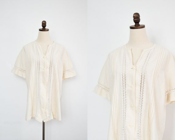 cream cotton blouse | large