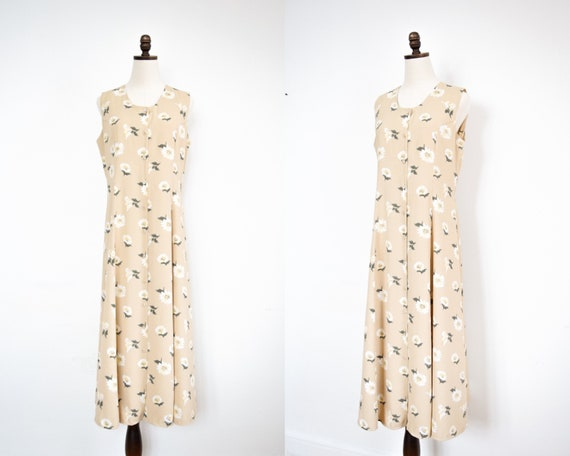 button front daisy print dress | large