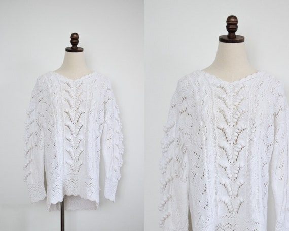 white chunky knit sweater | m