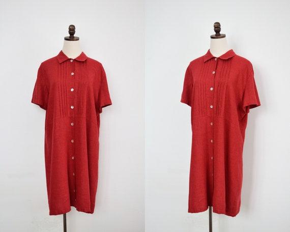 linen blend shirtdress   l/xl