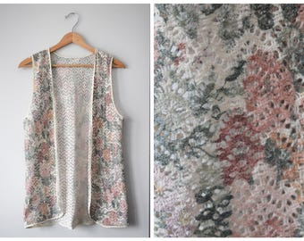 SALE 70s bohemian crochet vest | Free size
