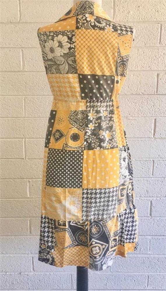 Vtg Patchwork Dress sz 10 Oasis VLV Long Yellow 1… - image 2